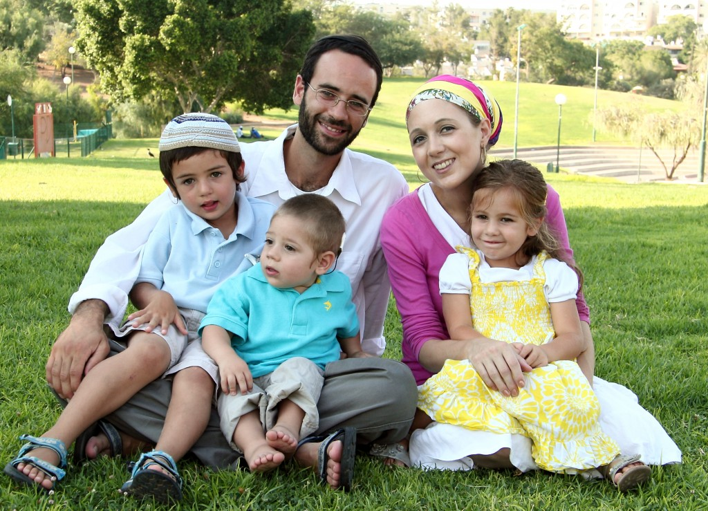 (from left to right): Avraham (5), Elyahu (2), Hanna Dina (3.5), with parents David and Rachael Masri (both 30)