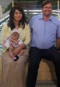 Eli Bialik with his wife and baby daughter