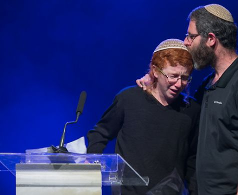 "Akiva and Natan Meir this week at the Jerusalem tribute for Dafna HY""D"