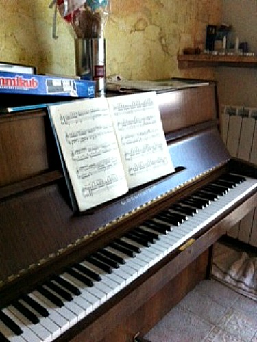 "Music is so wonderful! It elevates my soul! I received this piano from my grand mother z""l and it traveled from Italy to France and now to Israël !"