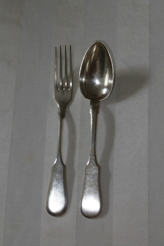My grandfather Harry's fork and spoon with which he ate his meat meals.  I am so fortunate to  have the memories of sitting in my grandparents kitchen as we ate dinner together.  My grandfather loved his soup.