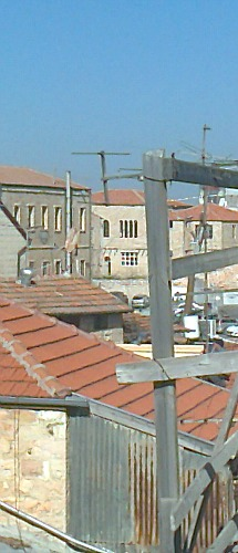 The view from my roof-- in the distance you can see Etz Chaim Yeshiva and the Zoharei Chama synagogue