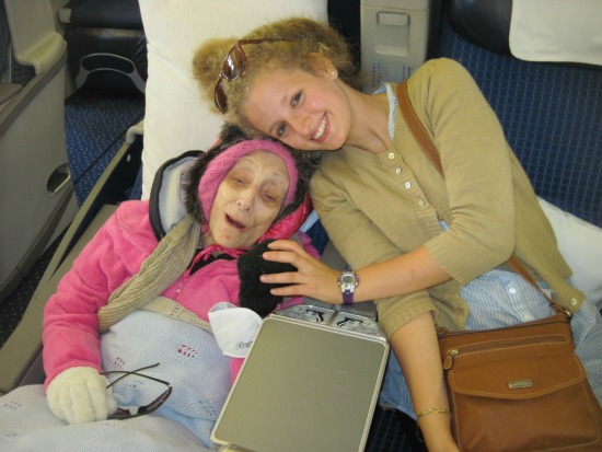 Savta Tirtza together with her granddaughter Devorah on her aliya flight.