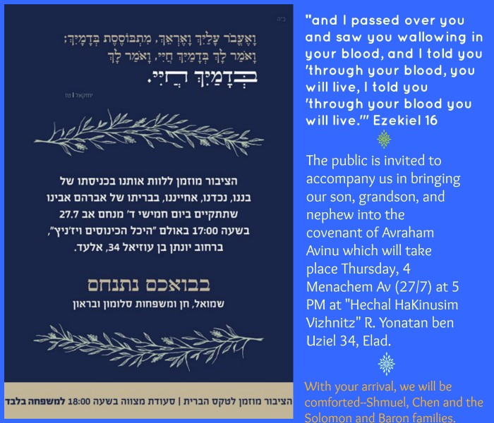 Mourning Solomon Family Invites Public to Todays Bris Jewish Mom