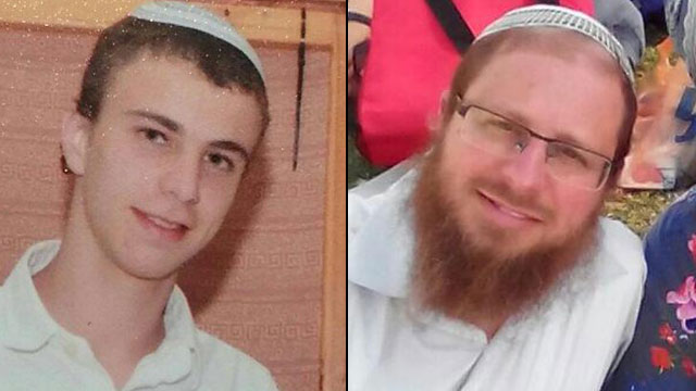 "Sara Techiya's father, Rabbi Yaakov Litman (44) and Natanel (18), HY""D."