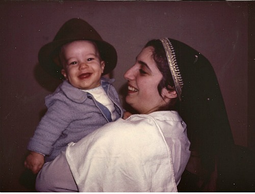 Rabbi Cohen as a baby with his mother.