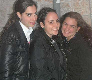 Lahav Bais Yaakov students Chana Leah Caller, Goldie Eichorn, Faigy Bookson of  Flatbush and Monsey, NY.