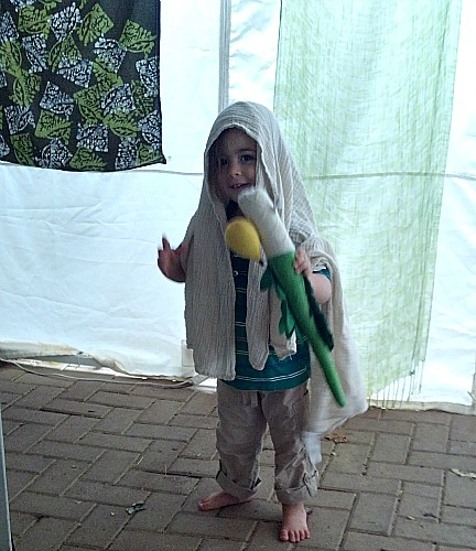 This is my son, Akiva Chen, davening in our sukkah. I am so grateful that I am raising children connected to Hashem, mitzvot, and Eretz Yisrael.
